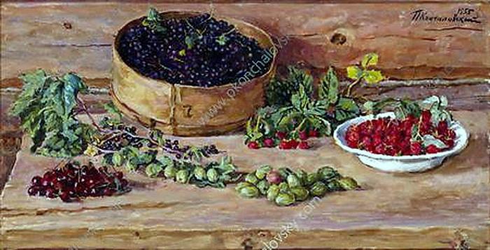 Still Life. Currants on a sieve., 1955 - Pyotr Konchalovsky