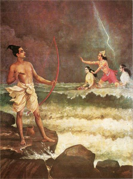 Sri Rama Vanquishing the Sea - Raya Ravi Varma