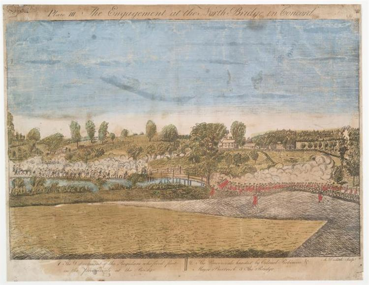 Plate III. The engagement at the North Bridge in Concord - Ralph Earl