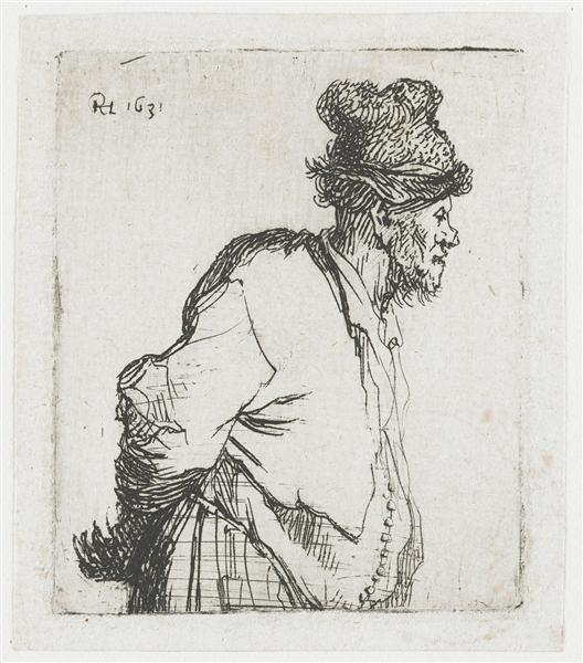 Peasant with his hands behind his back, 1631 - Rembrandt