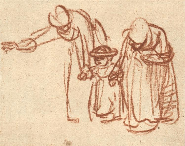 Two Women Teaching a Child to Walk, c.1635 - c.1637 - Rembrandt