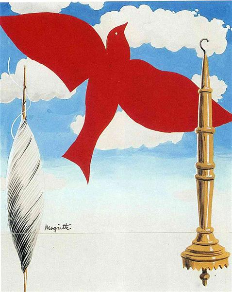 """Project of poster """"The center of textile workers in Belgium"""", 1938 - René Magritte"""