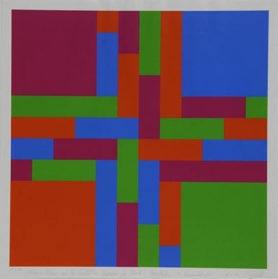 Durchdringung von vier verschränkten Farbgruppen, 1970 - Richard Paul Lohse