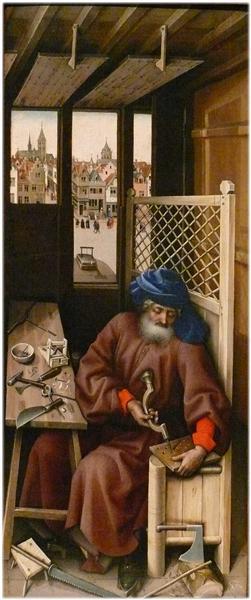 The Mérode Altarpiece - Joseph as a medieval carpenter, 1425 - 1428 - Robert Campin