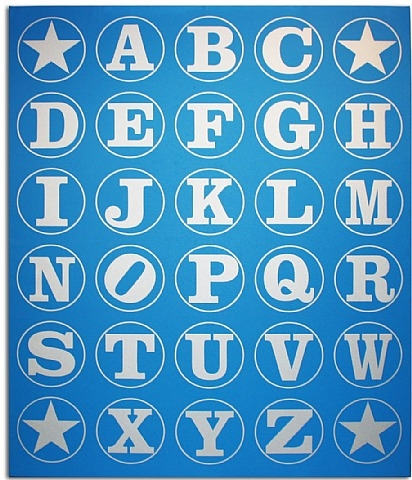 Silver/Blue Alphabet Wall, 2011 - Robert Indiana