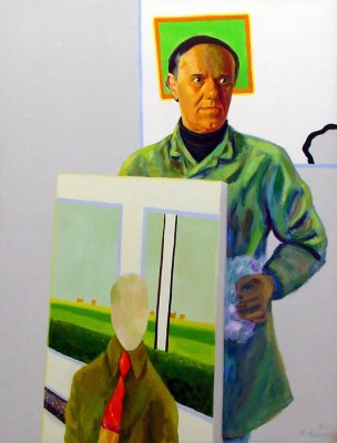 Self-portrait with painting, 1974 - Roger Raveel