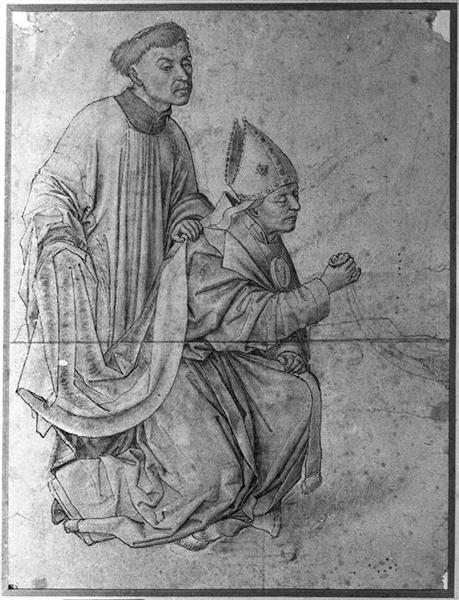 Bishop kneeling, in profile, swinging a censer, accompanied by a clerk - Rogier van der Weyden