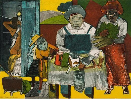 The Family Around The Dining Table 1975 Romare