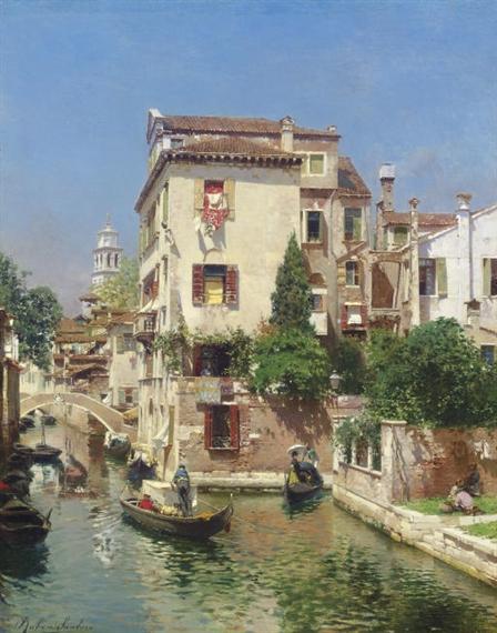 Gondoliers on a Venetian Canal - Rubens Santoro