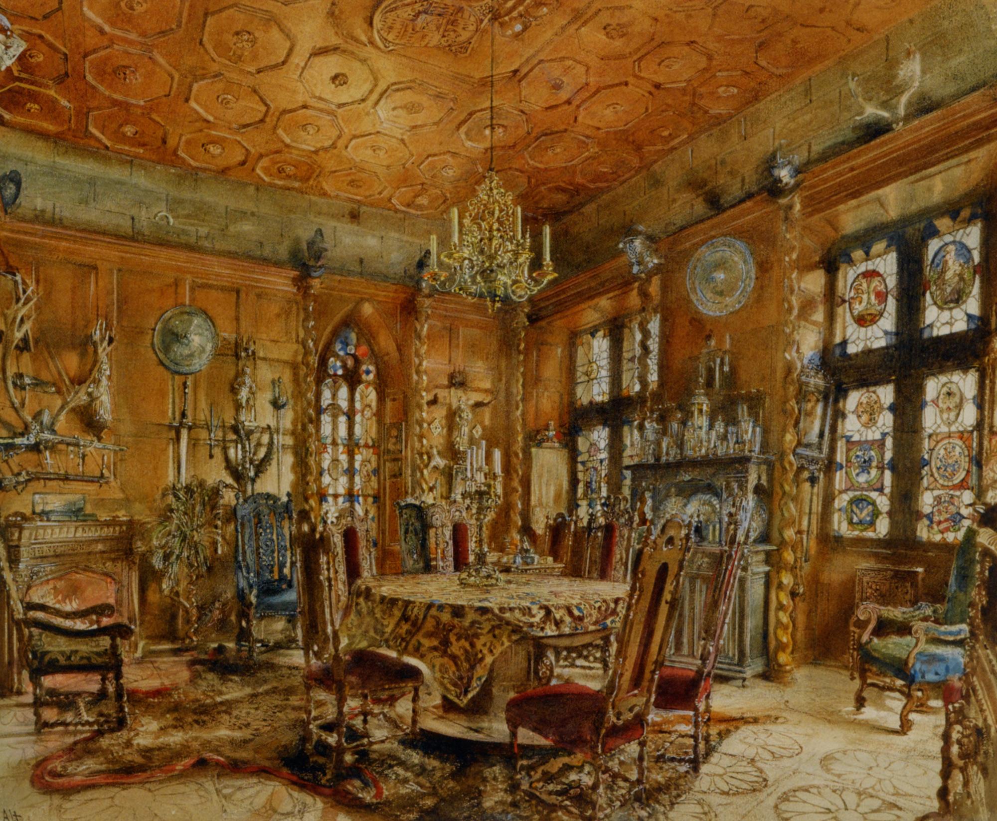 interieur of castlein renaissance style rudolf von alt. Black Bedroom Furniture Sets. Home Design Ideas