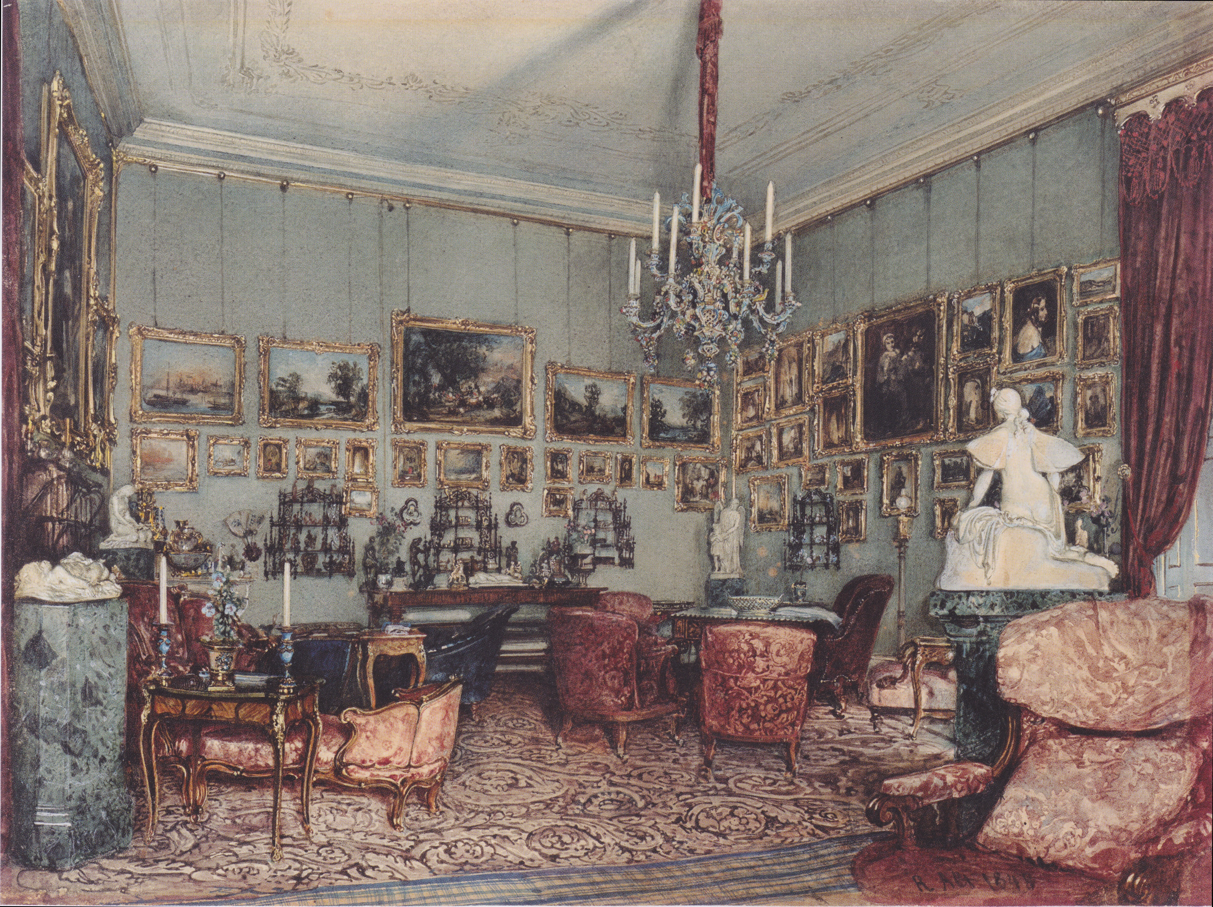 Interior in Palace Windischgratz in the race in Vienna, 1848