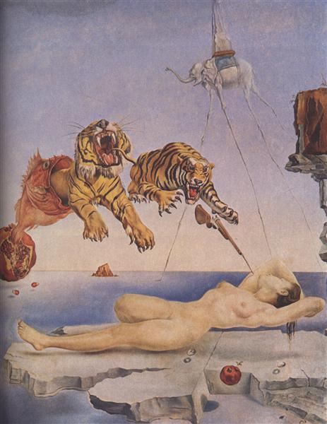 Dream Caused by the Flight of a Bee around a Pomegranate. One Second before Awakening - Dali Salvador