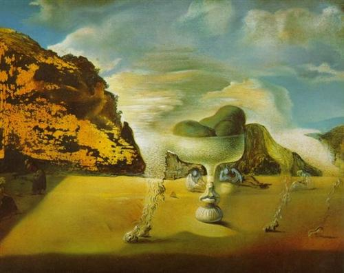 Invisible Afghan with the Apparition on the Beach of the Face of Garcia Lorca in the Form of a Fruit Dish with Three Figs - Salvador Dali