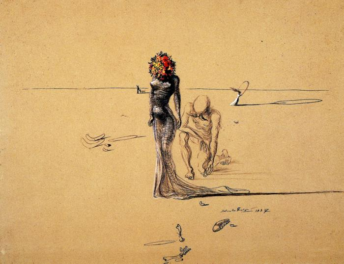 Woman with Flower Head - Dali Salvador