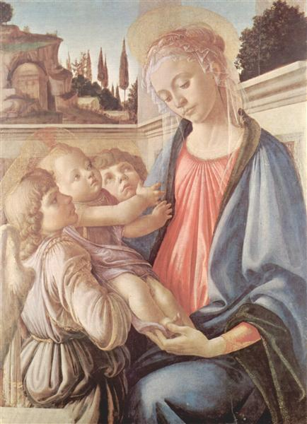 Madonna with two angels - Botticelli Sandro
