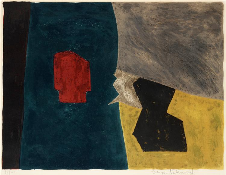 Composition bleue, jaune et grise, 1958 - Serge Poliakoff