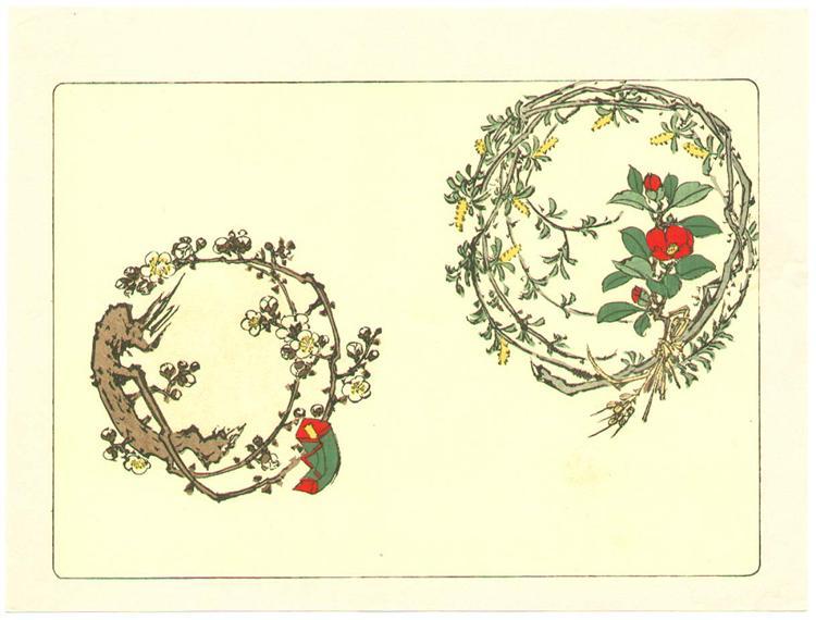Two Wreaths - Comparison of Flowers, 1890 - Shibata Zeshin