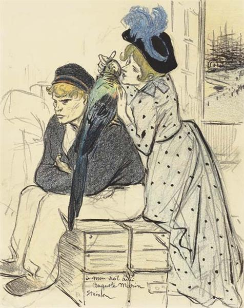 Aux Iles Original drawing - Théophile-Alexandre Steinlen