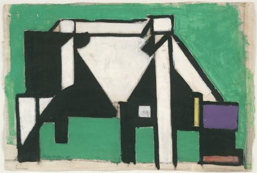 Study for Composition VIII (The Cow), by Theo van Doesburg, c. 1918