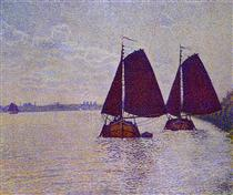 Barges on the River Scheldt - Théo van Rysselberghe