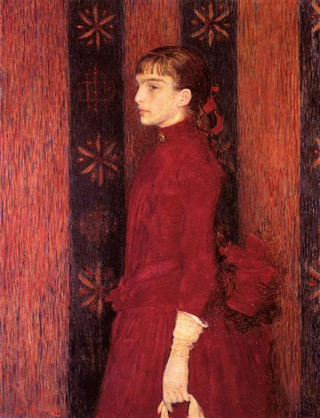 Portrait of a Young Girl in Red, c.1887 - Theo van Rysselberghe