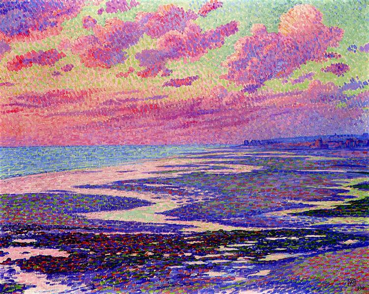 The Beach at Ambleteuse at Low Tide, 1900 - Theo van Rysselberghe