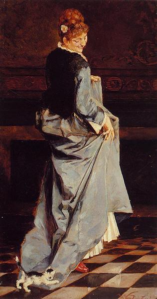 Woman in a Green Dress, c.1885 - Theo van Rysselberghe
