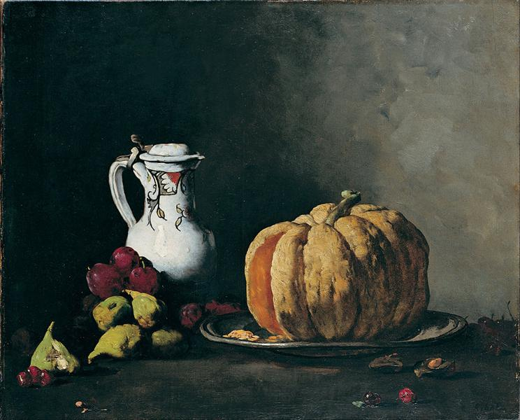 Still Life with Pumpkin, Plums, Cherries, Figs and Jug - Theodule Ribot