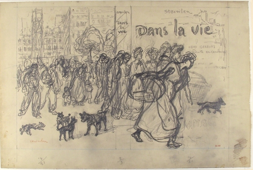 Dans La Vie - book cover drawing, 1901 - Theophile Steinlen