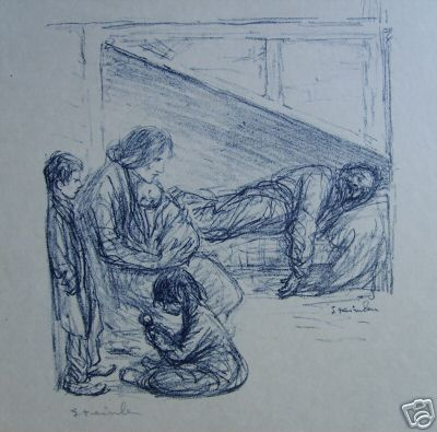 Family lithograph - Theophile Steinlen