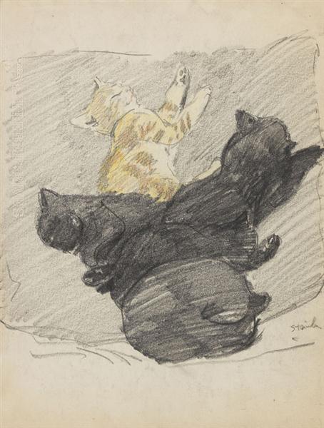 Five sleeping cats, 1915 - Theophile Steinlen