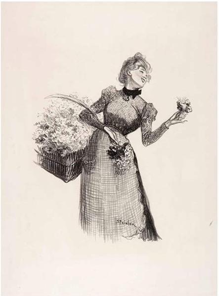 Flower Girl, 1899 - Theophile Steinlen
