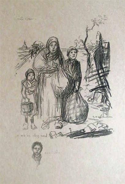 Le Retour - C'Est Ici Chez Nous, 1916 - Theophile Steinlen