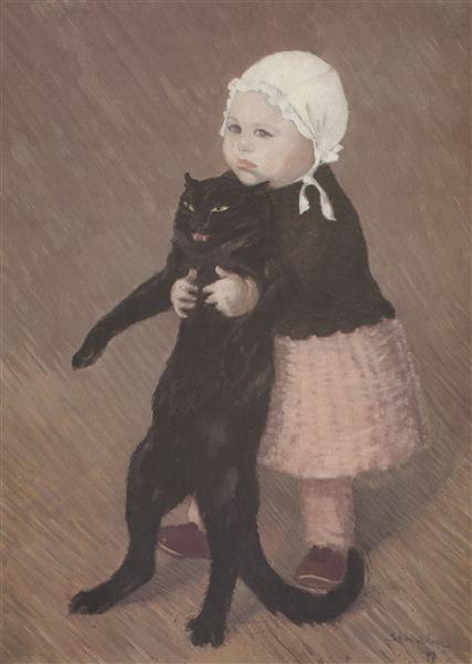 Little Girl With Cat, 1889 - Theophile Steinlen