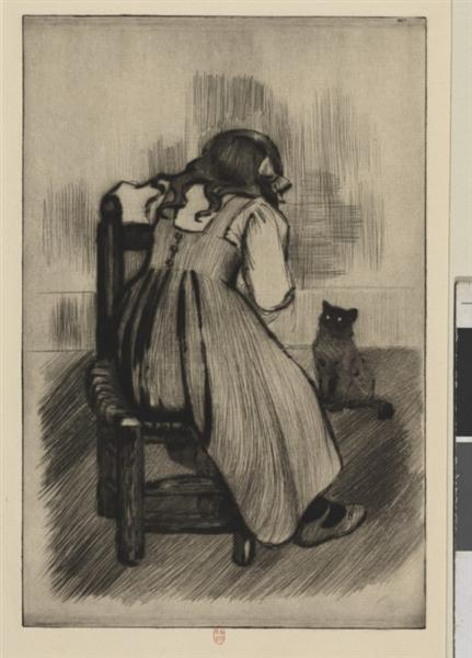 Little girl with cat, 1901 - Theophile Steinlen