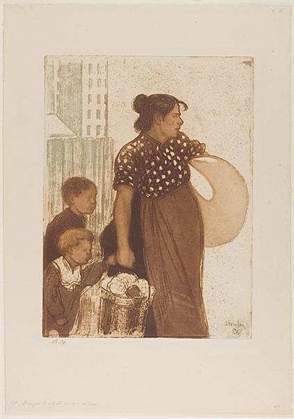 Menagere et Enfants Rentrant du Lavoir, 1899 - Theophile Steinlen
