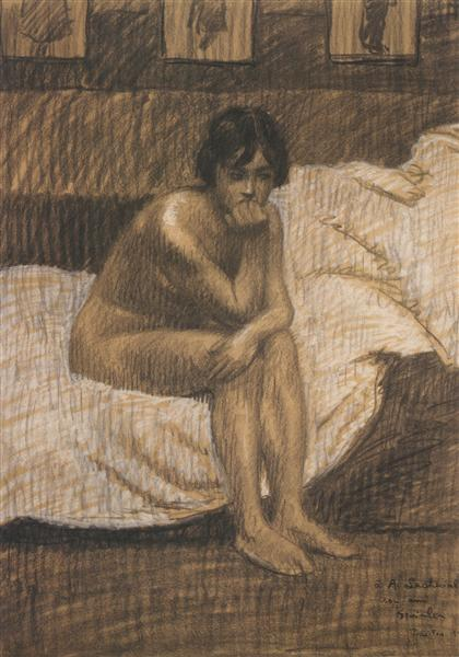 Nude woman sitting on the bed, 1913 - Théophile-Alexandre Steinlen