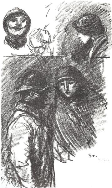 Soldat et Infirmiere, 1916 - Theophile Steinlen