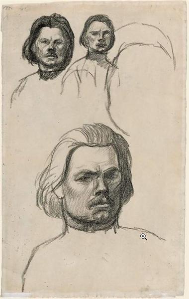 Studies of Portrait of Maxim Gorki - Theophile Steinlen