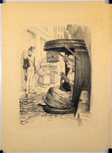 Tu te Brules a la Chandelle, 1900 - Theophile Steinlen