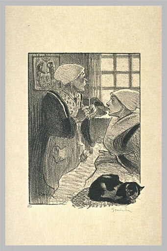 Two women and cat - Theophile Steinlen