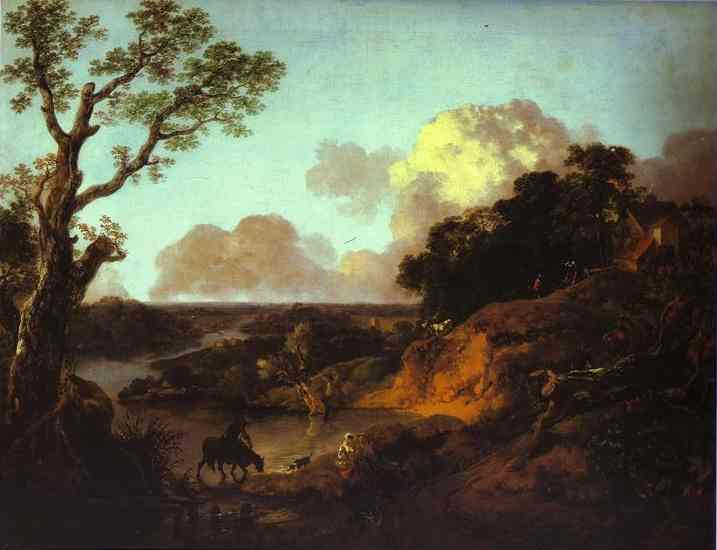 River Landscape with Rustic Lovers - Thomas Gainsborough