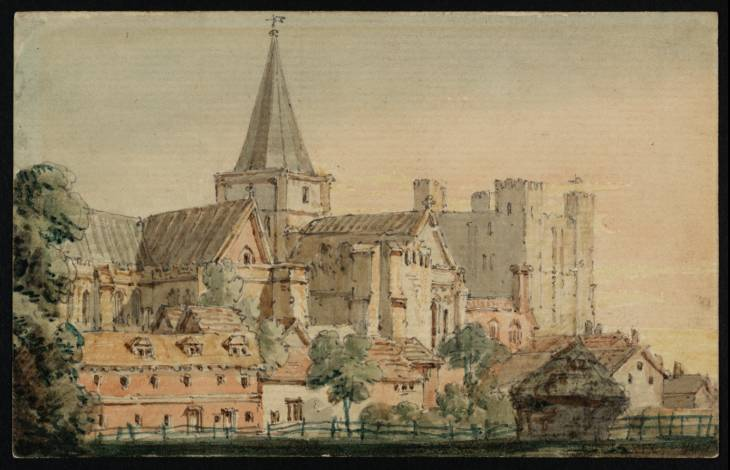 Rochester Cathedral from the North East, with the Castle Beyond, 1797 - Thomas Girtin