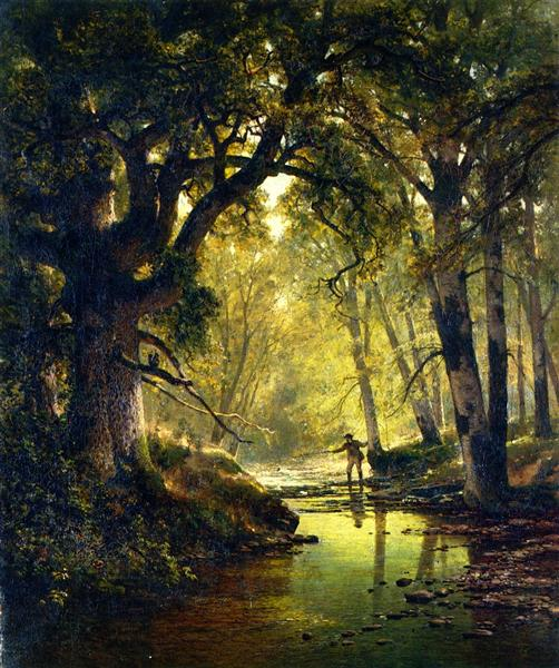 Angler in a Forest Interior, 1874 - Thomas Hill