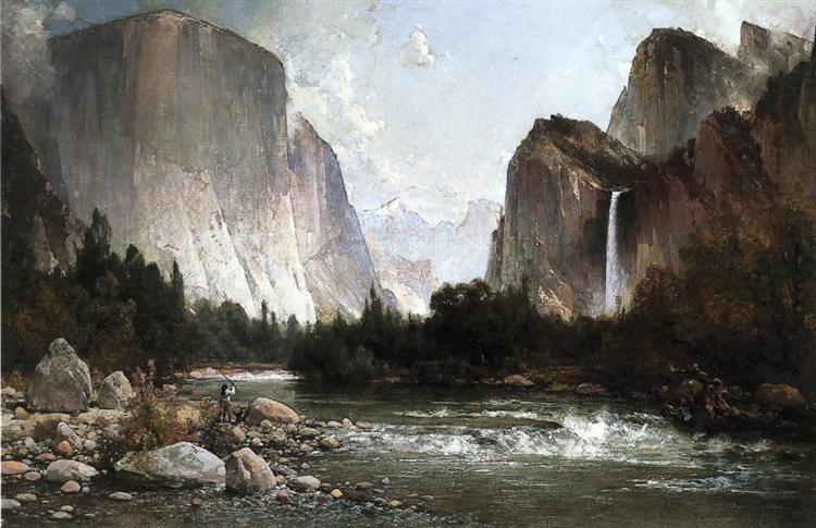 Piute Fishing on the Merced River, Yosemite Valley 1891, 1871 - Thomas Hill