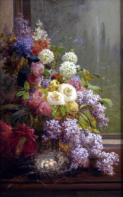 Still Life FLowers and Fruit, 1855 - Томас Хілл
