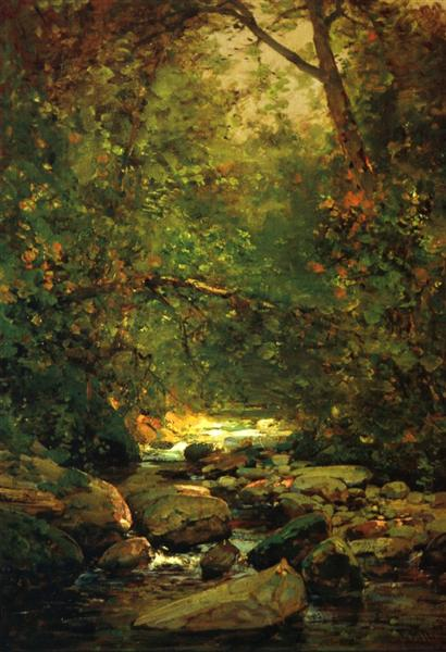 Stream in Forest Winter - Thomas Hill