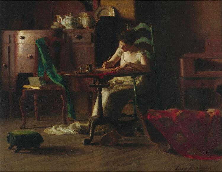 Woman writting on a table, 1905 - Thomas Pollock Anshutz