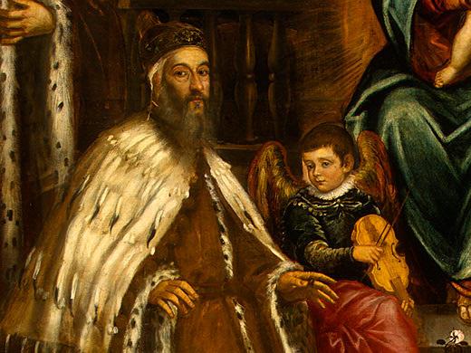 Doge Alvise I Mocenigo and Family Before the Madonna, c.1573 - Tintoretto