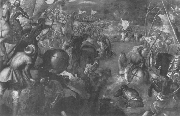 Francesco II Gonzaga against Charles VIII of France 1495 in fighting the battle of the Taro, 1578 - 1580 - Tintoretto